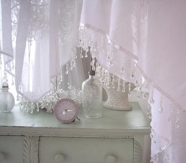 Sheer white cottage curtains in the description and Shabby chic curtain window