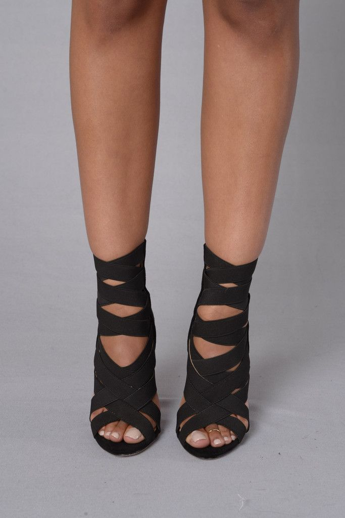 """- Available in Black, Khaki, Mint, and Fuchsia - Suede Sandal - Elastic Strappy Front - 4"""" Heel"""