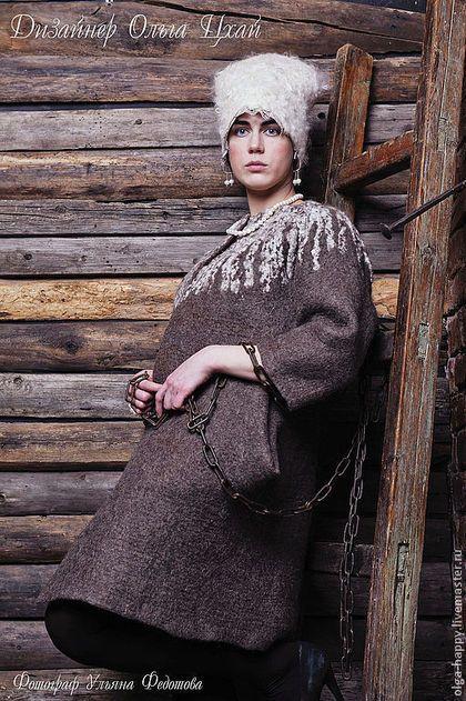 Верхняя одежда ручной работы. Ярмарка Мастеров - ручная работа Валяное пальто Вереск.. Handmade.