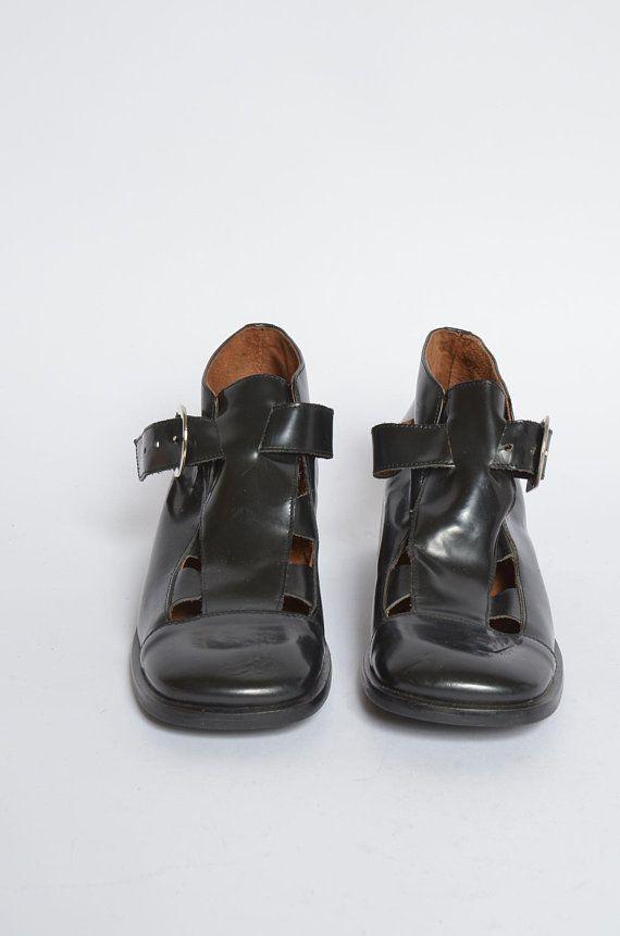 Chunky-Heel 90/'s Heeled Vintage Heels Shoe Black Shiny 1990/'s Leather Pumps Made in Spain