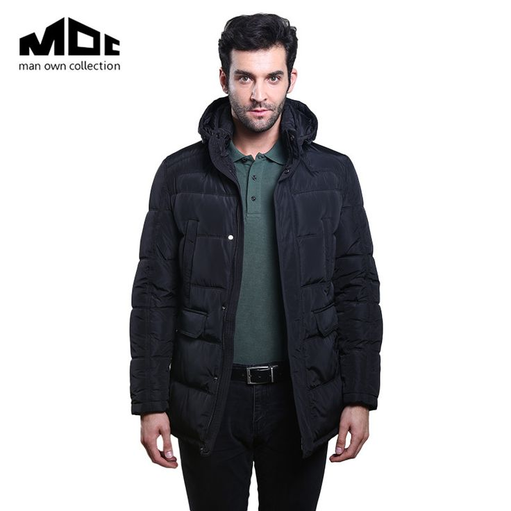 Winter Man Jackets Solid Color Long Sleeve Hooded Neckline Thicken Warming Clothing Male Pockets Cotton-Padded Coats And Jacket