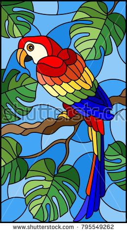 Illustration in stained glass style bird parakeet …