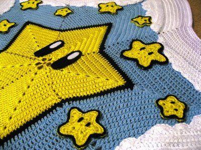 Super Mario bros. Star blanket. Pattern found on : http://www.innerchildcrochet.com/patterns/starry_starry_night.php