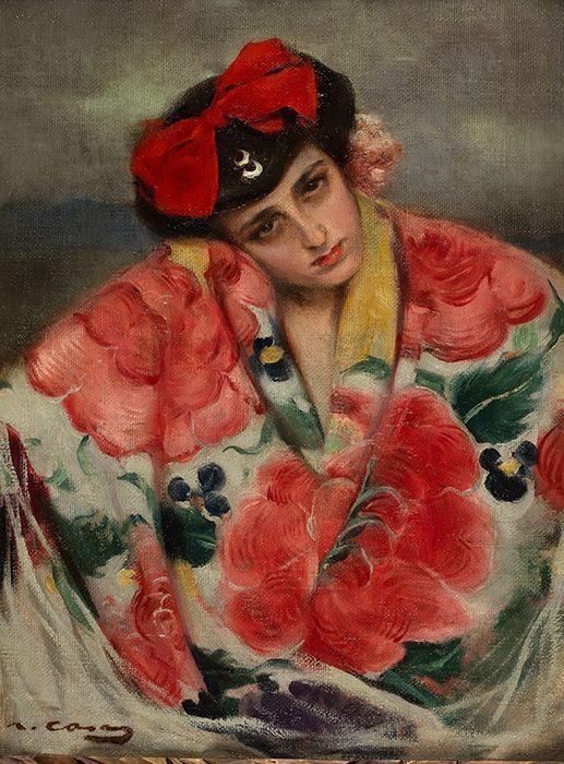 """""""Joven con mantón"""" Ramón Casas y Carbó. 1866- 1936"""