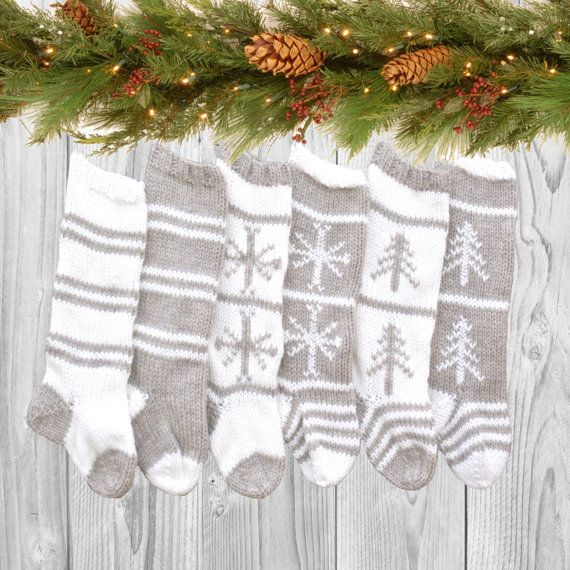 Set of 6 Rustic Knitted Christmas Stockings with by PreciousKnits
