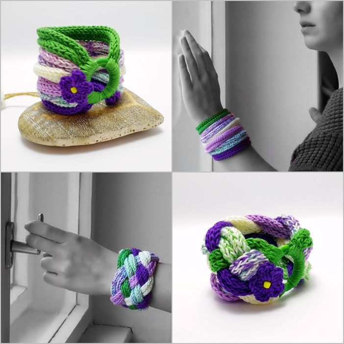 #knitted #bracelets with #flowers in #green and #purple colors