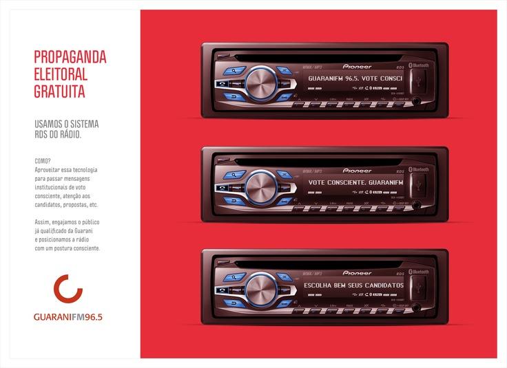 Propaganda Eleitoral Gratuita: ação desenvolvida para a Rádio Guarani FM em 2012.