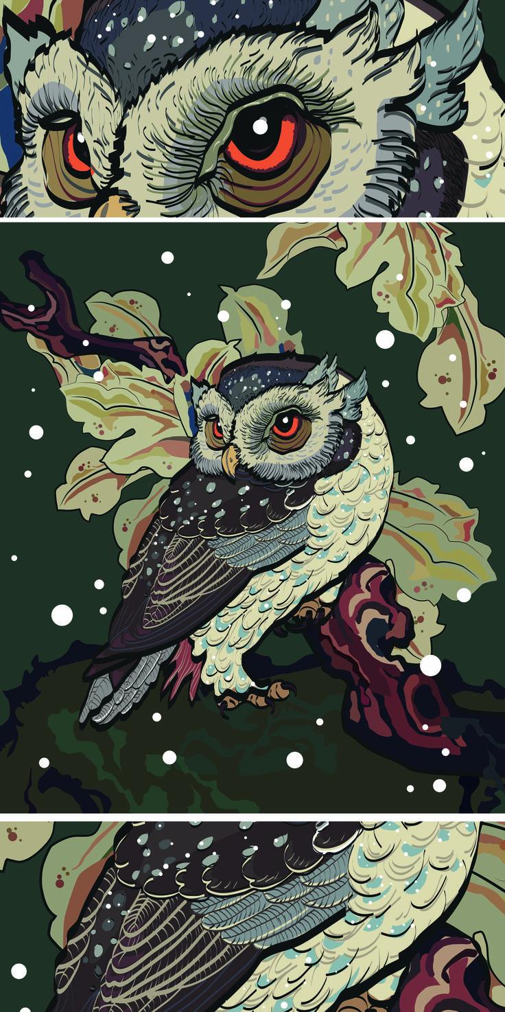 "Векторная графика. Картина ""Сова"". Ai.   Vector graphics. "" Owl "" painting . Ai…"