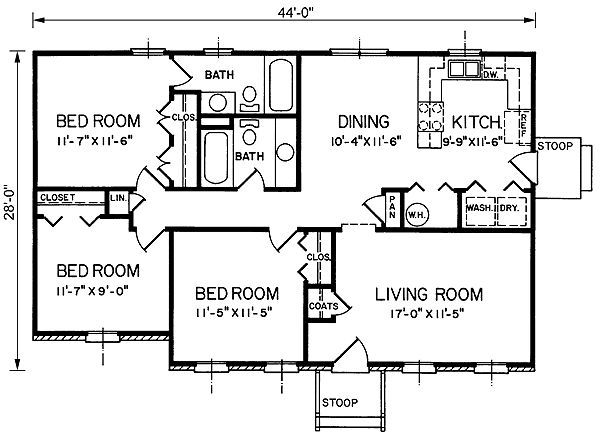 1200 sq ft ranch house plans lake house pinterest - Bungalow Floor Plans