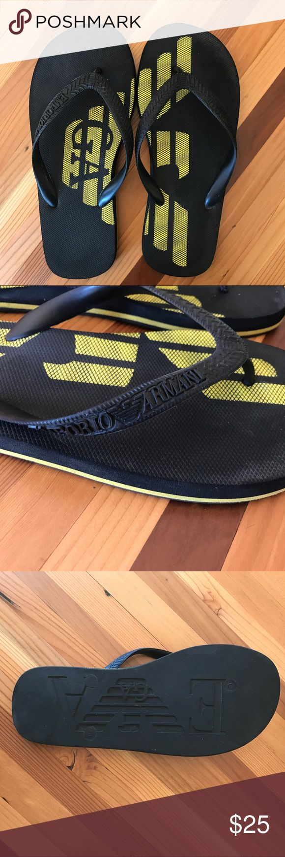 Mens Giorgio Armani Flip Flops Black flip flops with yellow logo detail. Great condition, barely worn. Giorgio Armani Shoes Sandals & Flip-Flops