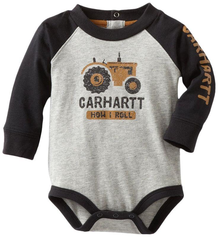 Carhartt Baby-boys Infant Raglan Bodysuit, Grey Heather, 9 Months