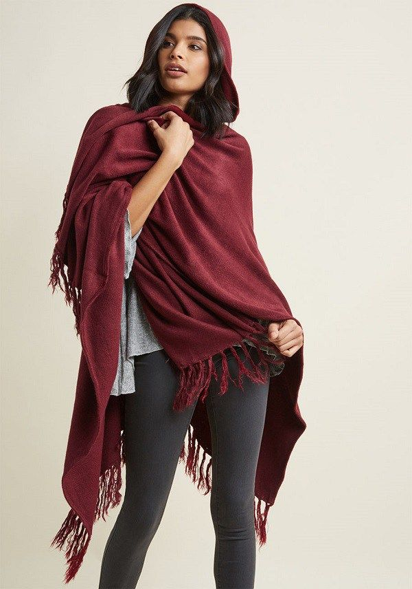 bb71a5895e Long Plus Size Winter Wrap in Burgundy - Composed of a super soft burgundy  knit