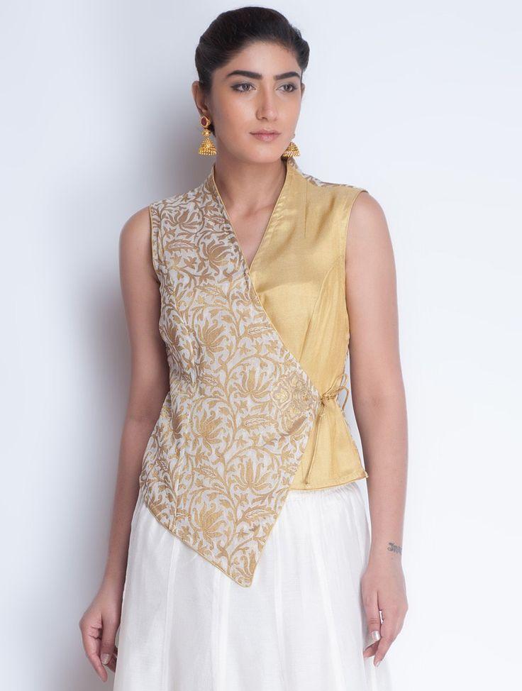Buy Ivory Golden Jacquard & Zari Embroidered Angrakha Jacket by Neemrana Apparel Jackets Styled from Stone Kurtas Lehngas Chanderi Kurta Sets and More Online at Jaypore.com
