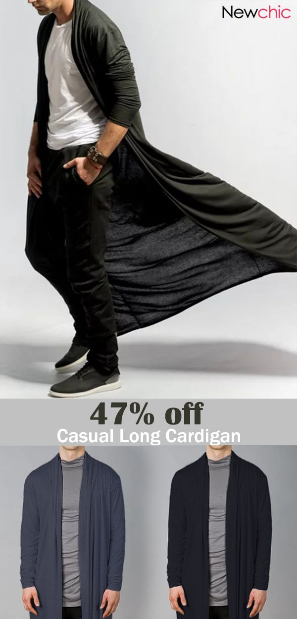 Mens Brief Long Draped Solid Color Cardigan Casual Long Robe  casual   cardigan  mensfashion  menswear 51845ae4e