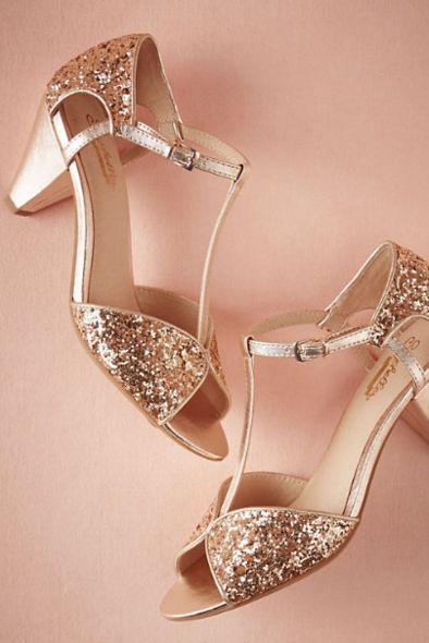 Glittery rose gold heels