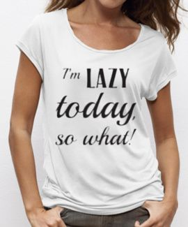 #Wit #loose fit #shirt met zwarte Lazy Today #quote, 50% #organic #cotton 50% #tencel #print made by #lazylola