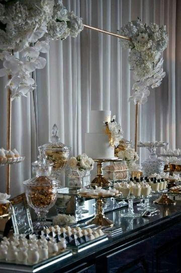 Mesas de dulces para bodas elegantes en el día y en la noche