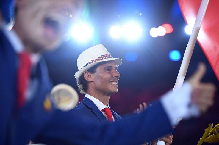 Spain's flag bearer Rafael Nadal leads  the delegation during the opening ceremony of the Rio 2016 Olympic Games at the Maracana…