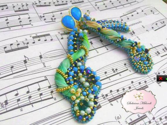 orecchini con seta e swarovsky di SabrinaMilardiJewels su Etsy