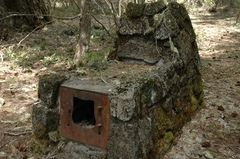 Natural Bridge campground on the Rogue River......Camping Oregon: Historic lava rock cooking stoves built in the 1930s