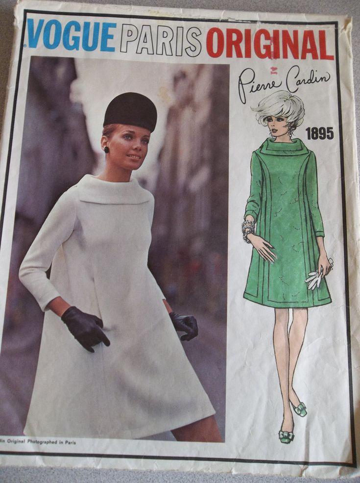 vogue paris originals trapeze dress patterns | Vintage Vogue Pattern 1895 Sewing Paris Original Pierre Cardin Dress ...