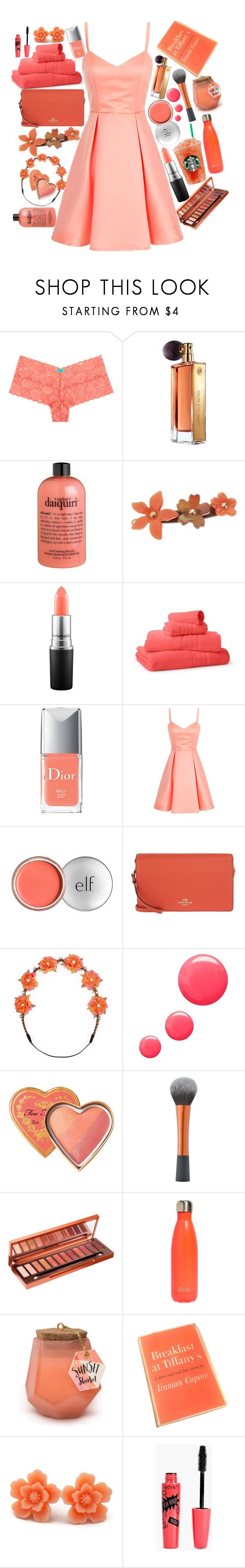 """""""🍹"""" by raynebowmaster on Polyvore featuring Guerlain, philosophy, L. Erickson, MAC Cosmetics, Saks Fifth Avenue Collection, Christian Dior, e.l.f., Coach, Carole and Topshop"""