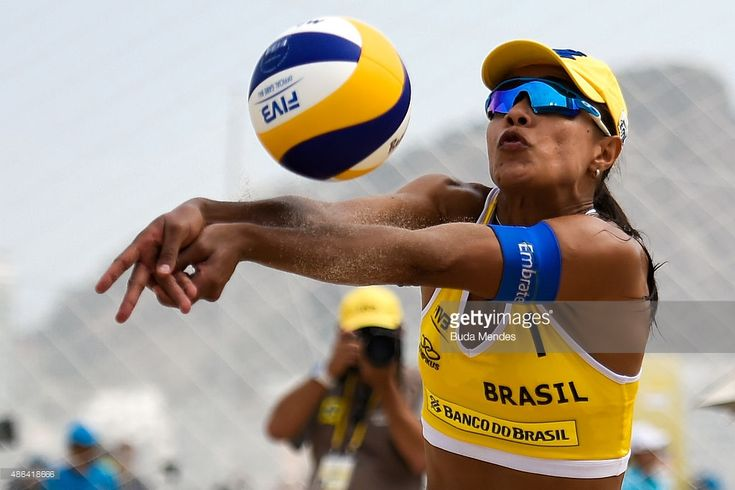 Juliana Felisberta of Brazil in action during her match against Ana Patricia and Renata Ribeiro of Brazil at the FIVB Beach Volleyball World Tour Rio Open at Copacabana beach on September 3, 2015 in Rio de Janeiro, Brazil. This event serves as a test for Rio 2016.