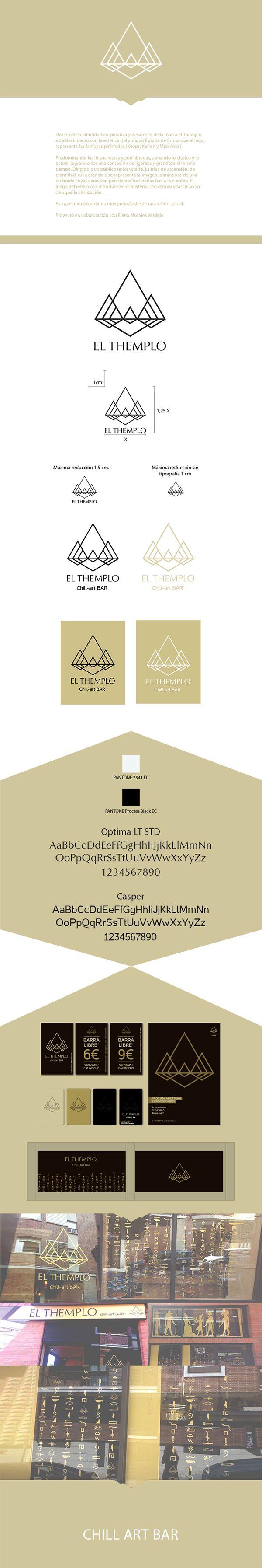 EL THEMPLO Chill-art BAR on Behance  Diseño de la identidad corporativa y desarrollo de la marca El Themplo, establecimiento con la estética del antiguo Egipto, de forma que el logo, representa las famosas pirámides (Keops, Kefren y Micerinos).  www.pmatorrego.com
