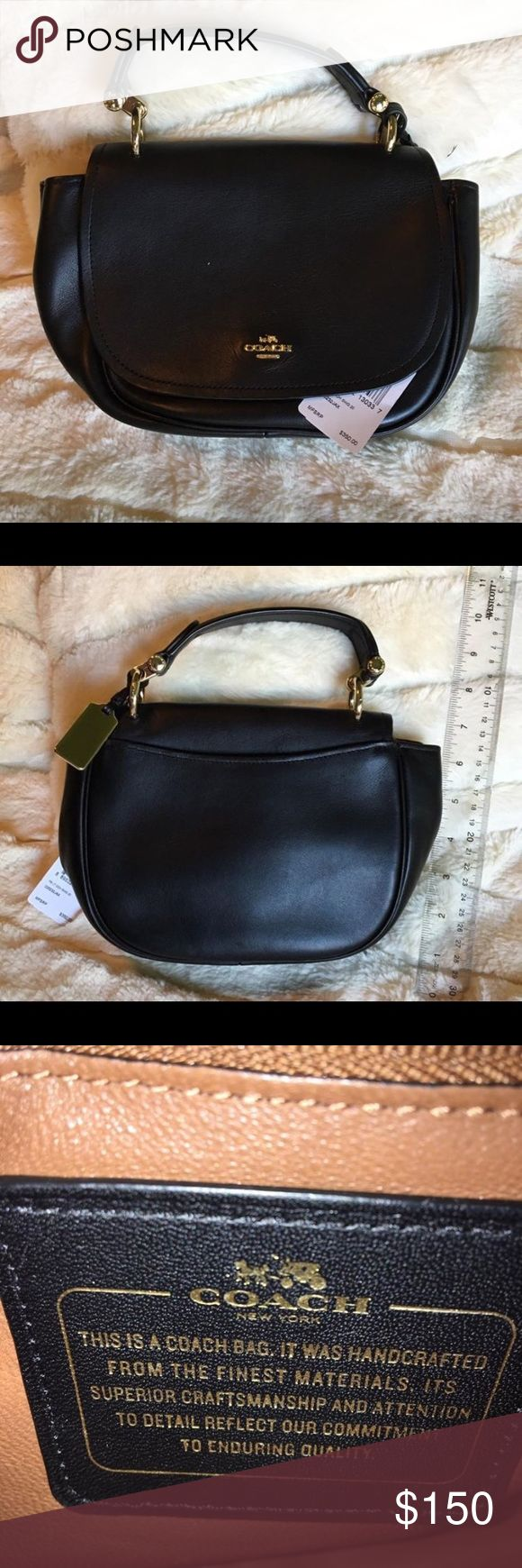 Black Coach soft leather mini purse. Used once. Black Coach soft leather mini purse. Used once.   Measurements are in one picture. Great gift. For the lady who likes a nice small purse. Coach Bags Mini Bags