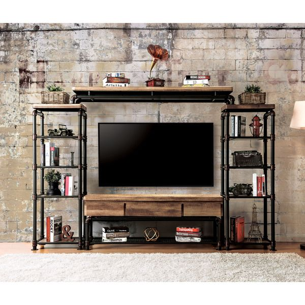 Furniture of America Herman Industrial Black Entertainment Center- 4 Piece