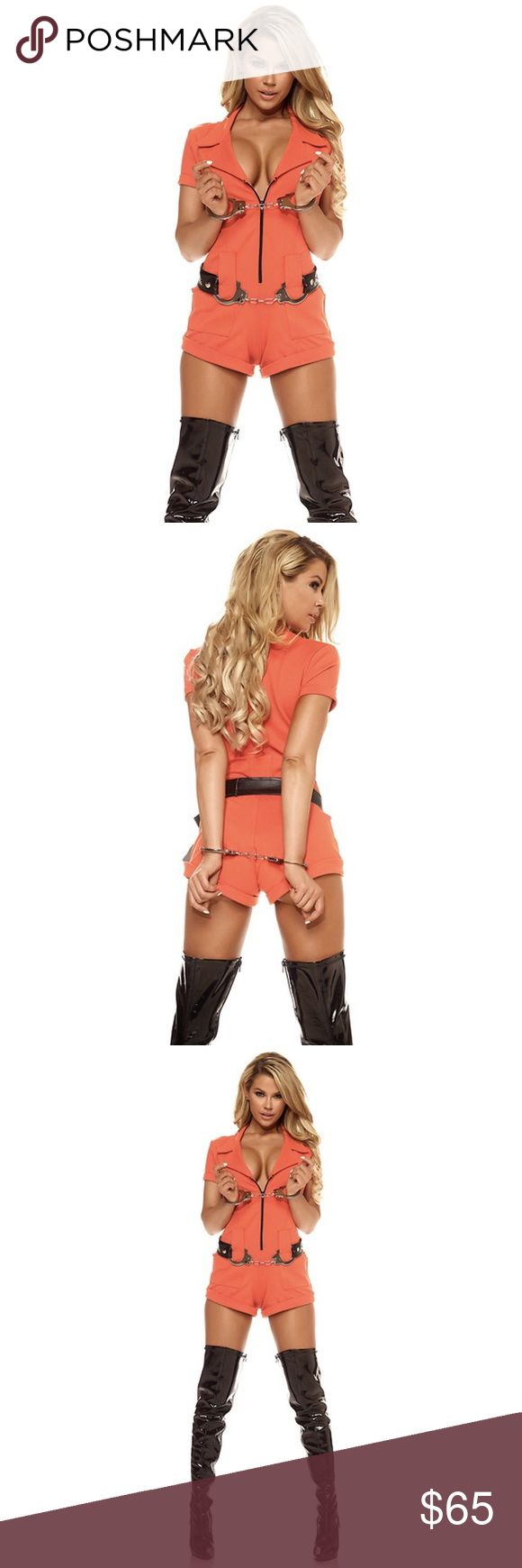 PreorderWoman Inmate Costume #686 Preorder items will ship out in 1-2 days. No one will mind spending 25 to life with you when you're suited up in our 2-piece Booked Sexy Women's Inmate Costume. With cheeky romper and flirty handcuffs, you'll have no problems finding a partner in crime this Halloween. 2-Piece sexy inmate costume includes orange romper and handcuffs. Handcuff belt not included. Nylon/Spandex Blend. Price is Firm! Forplay Other
