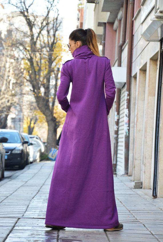 Wadding Maxi Turtleneck Dress Loose Fitting Long Purple