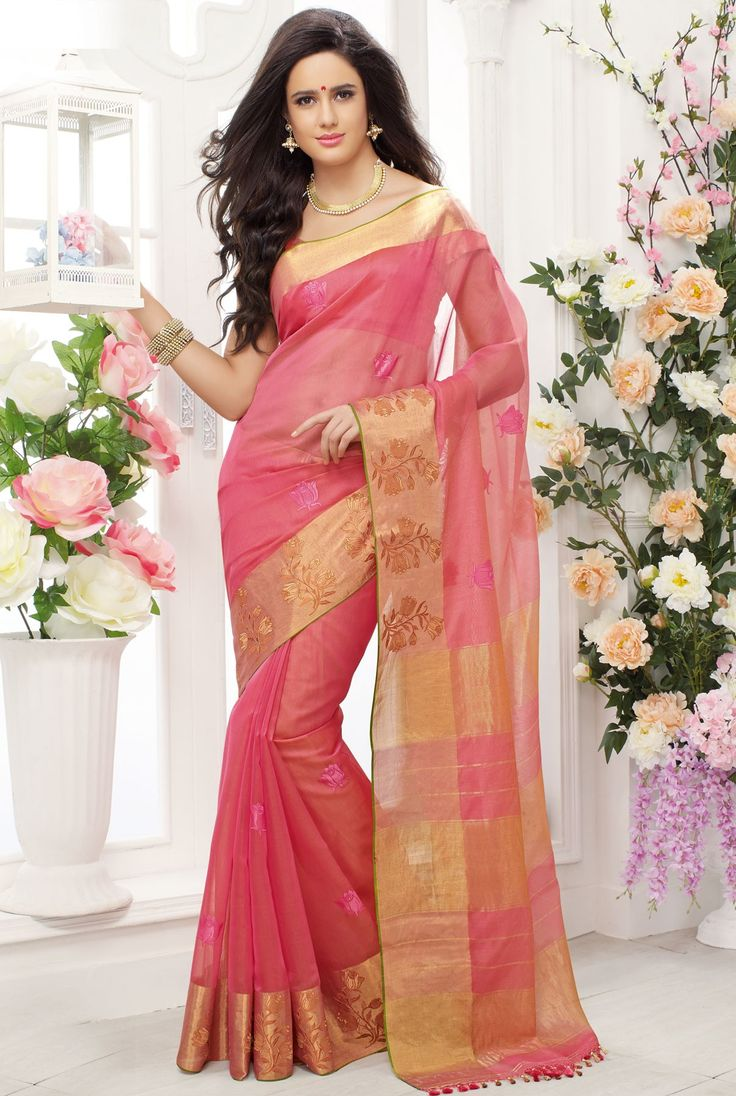 Pink embroidered pure cotton silk saree with pink & gold pallu -SR10410  #pink #embroidered #pure #cotton #silk #saree #gold #pallu #newarrival #glam #beautiful #lovely #dazzling #elegant #comely #collection #musthave #festive #casual #occasion #party #designer #wardrobe