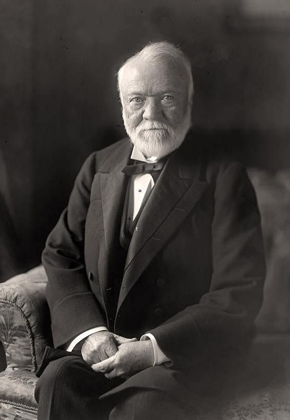 """Andrew Carnegie, 1835-1919.  Born in Scotland, emigrated to the United States with his parents in 1848. His first job in the U S was as a factory worker in a bobbin factory. Carnegie gave most of his money to establish  libraries, schools, and universities in the United States, the United Kingdom, Canada and other countries, as well as a pension fund for former employees. Earned most of his fortune in the steel industry. His life was a true """"rags to riches"""" story."""