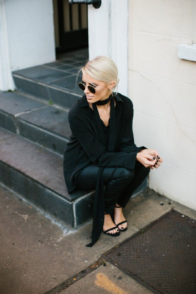 black leather jeans + silk top
