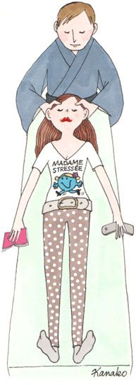 Massage for a very stressed person - cartoon