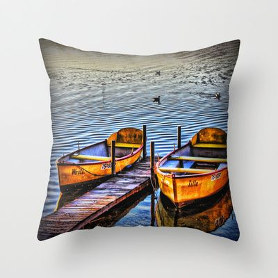 Twin Boats Throw Pillow by AngelEowyn. $20.00