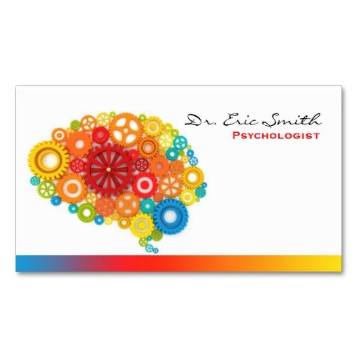 Brain Gears on Mental Health Business Card - room to write next appt on it. :)