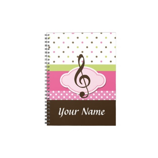Personalized Music Lesson Practice Journal Notebook is a nice gift for piano students at recital time.  #piano  #music  #recital