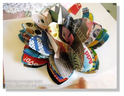 recycled paper flower   The tutorial is here:  http://kindawonderful.typepad.com/pink_paper_peppermints/2008/06/3-d-pop-up-recycled-magazine-flowers-31-crafty-flowers-in-31-days---day-21.html