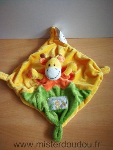 Doudou Girafe Nicotoy Jaune vert orange ma petite tribu