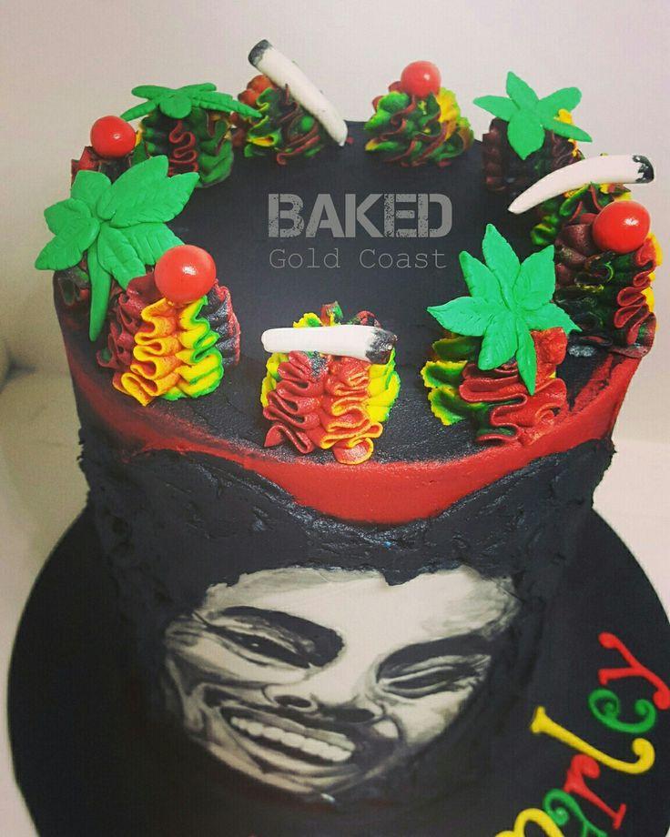 Rasta Bob Marley cake - hand painted & blended buttercream by BAKED GC