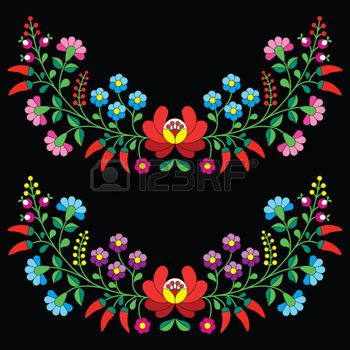 etno: Hungarian floral folk pattern - Kalocsai embroidery with flowers and paprika Illustration