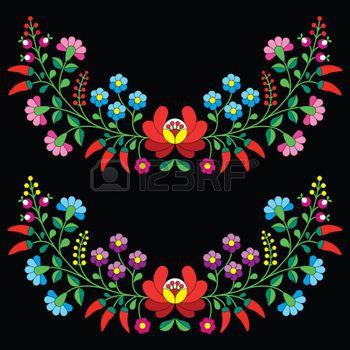 Motif floral folklorique hongroise - Kalocsai broderies de fleurs et de paprika photo