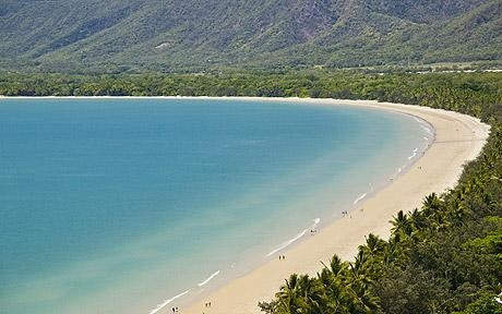 Port Douglas, Australia. Four mile beach! There are no houses or business on the beach it's lined with trees at night it's so dark you can't see but only a few feet ahead of you!