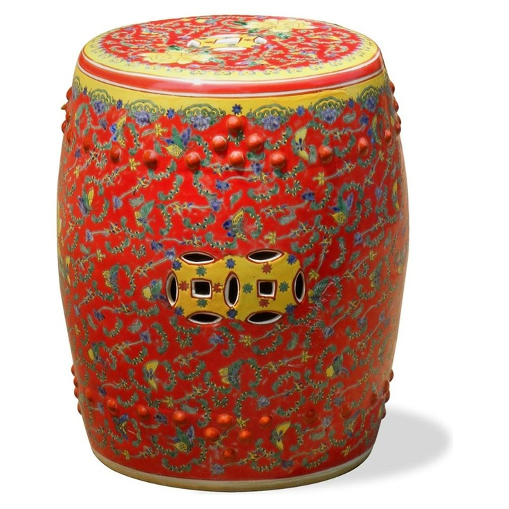 Chinese Red Art Garden Stool Courtesy of InStyle-Decor.com Beverly Hills Inspiring & supporting Hollywood interior design professionals and fans, sharing beautiful luxe home decor inspirations, trending 1st in Hollywood Repin, Share & Enjoy