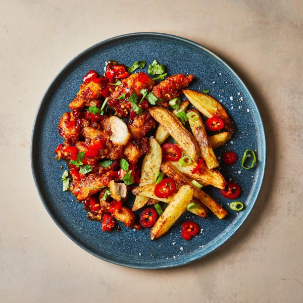 Sticky Chilli Chicken With Salt Pepper Chips Gousto Recipe Gousto Recipes Chilli Chicken Stuffed Peppers
