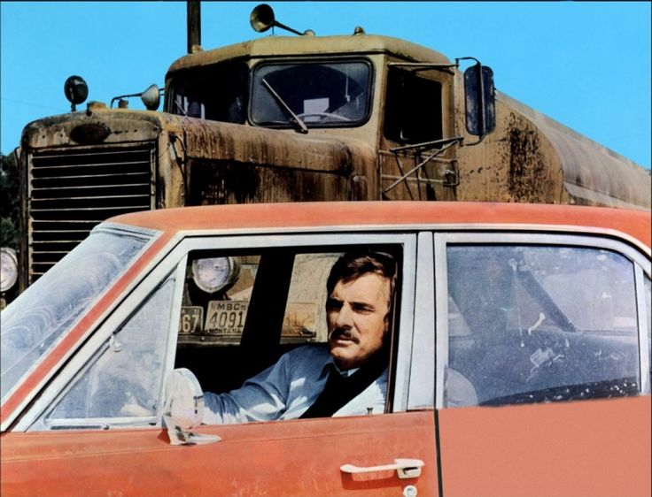 DUEL - The Truck, driven by a maniac trucker, that terrorised David Mann, played by Dennis Weaver, who starred in Steven Spielberg's first film 1971.