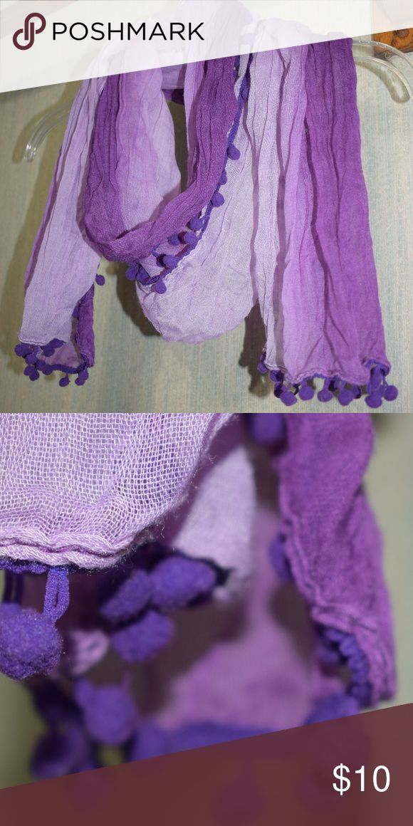 Purple Ball Tassle Scarf This cute scarf is made of a light and dark purple shade. It has tassles with little puff balls on the end! Great shape, no snags, no stains. Non smoking household! Accessories Scarves & Wraps