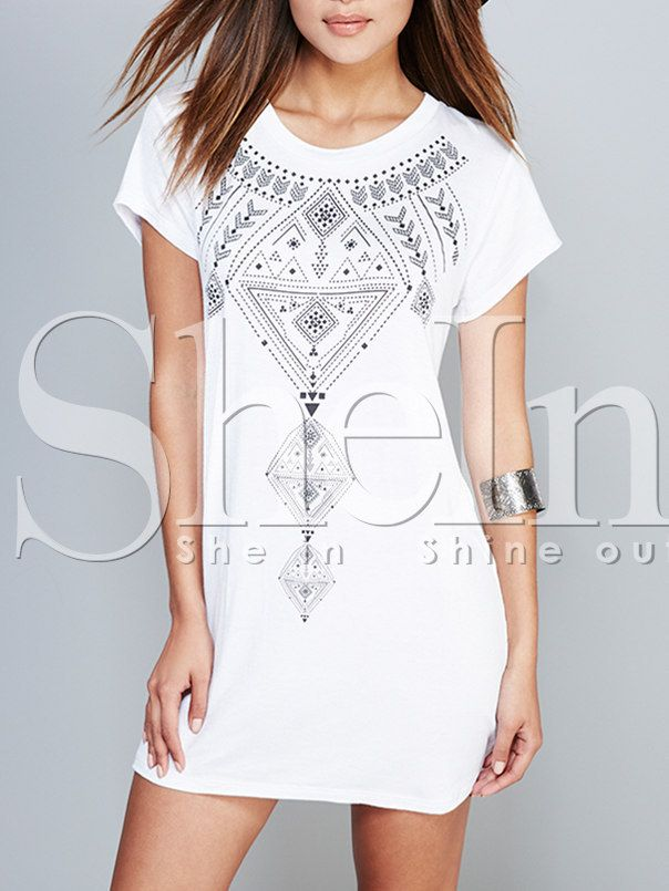 White Short Sleeve Backless Geometric Print Dress-SheIn